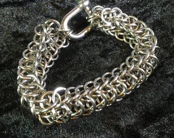 Big Chunky Chainmaille Bracelet - Stainless Steel Chainmaille Bracelet with Shackle Clasp - Men's Stainless Steel Bracelet