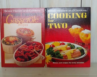 "Pair of Better Homes and Gardens Cook-Books: ""Cooking for Two"" 1968 & ""All Time Favorite Casserole Recipes"" First Edition 1977 Good Conditio"