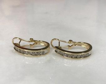 Beautiful 14k Yellow Gold Diamond Channel Set Earrings