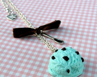 Mint Chocolate Chip ice ball necklace