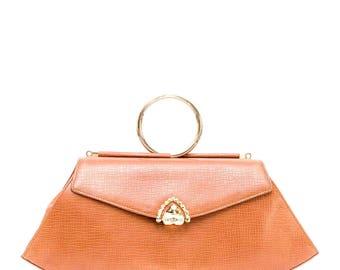 Rare vintage Ungaro brown leather handbag with top metal handle