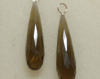 AAA 7x30mm Faceted Smoky Quartz Drops INTERCHANGEABLE Earring Charms Sterling, Rose or YG