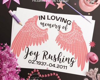 Angel Wings SVG, Angel svg, In Memory of svg, In Loving Memory svg, Sympathy svg, eps, dxf, png Cut Files for Silhouette for Cricut