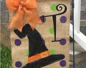 Hand Painted Monogrammed Burlap Witch Hat Flag