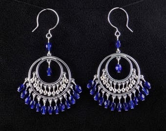 Handmade Blue Glass Bead Silver Hoop Chandelier Earrings