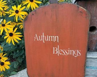 Primitive Wooden Pumpkin ~ Autumn Blessings