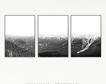 Set of 3 Prints Mountains Forest Wall Decor Nordic Art Print Poster Scandinavian Monochrome Black White Nature Wilderness Minimalist 1004