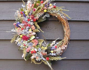 Grapevine wreath, Dried Floral Wreath, Indoor Dried Wreath, Wedding Wreath, Dried Flower Decor, Wall Decoration, Dried Field Flowers