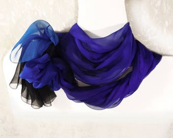 Hand painted silk scarf Ultra violet blue long scarf Chiffon shawl wrap Ultramarine Evening Wedding Summer Hand dyed ombre large scarf
