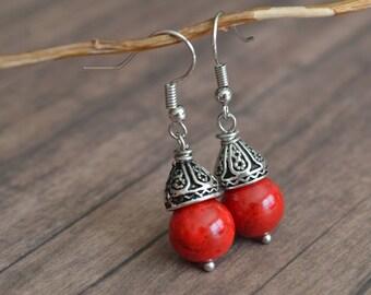 Red Stone Earrings. Earrings. Boho Earrings. Vintage Earrings. Gift For Women. Christmas Earrings. Gift Under 20 Dollar. Bohemian Earrings.