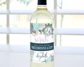 Will You Be My Bridesmaid? Custom Proposal Wine Label (Lilac & Blue Floral) - Bridesmaid Proposal, Maid of Honor, Matron of Honor