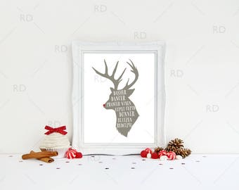 Reindeer Names - PRINTABLE Wall Art / Reindeer Names Wall Art / Christmas Print / Christmas Lyrics Art / Dasher Dancer Prancer Vixen Rudolph