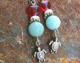 turtle earrings blue amazonite earrings boho earrings red heart earrings Valentine heart earrings dangle earrings gift for her gift for wife