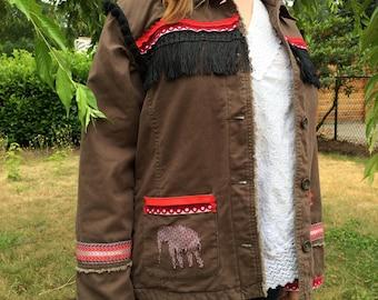 Army Jacket Embellished Upcycled Fringe & Pom Pom Boho Handmade Military Festival Wear w/ Elephant / Women's Medium OOAK Bohemian Coat