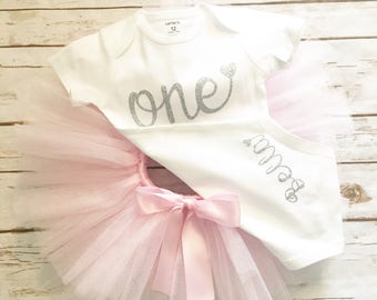 First Birthday Outfit Girl - 1st Birthday Outfit - Pink and Silver - Tutu - Cake Smash - Winter First Birthday Outfit - Winter Wonderland