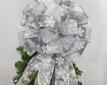 Pewter Silver Snowflake Christmas Tree Topper Bow - Snowflake Christmas Bow, Christmas Tree Bow, Tree Topper, Bow Tree Topper