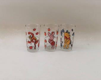 Vintage Disney Glasses, Winnie the Pooh, Piglet and Tigger, Set of 3
