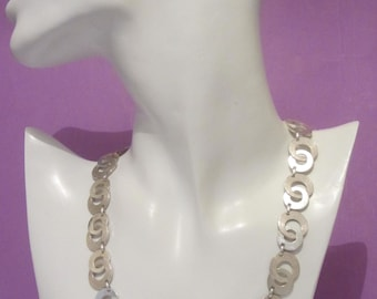 Vintage solid silver modernist linked interlocking ring choker chain 30g 925, British silver chain choker necklace,