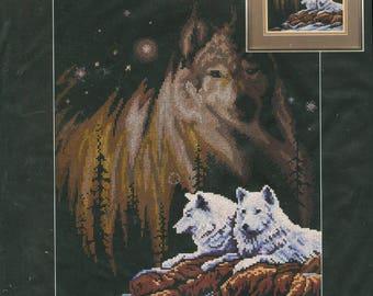 "1997 Northern Lights Wolf in the Sky NIP DIY Stamped Cross Stitch Kit by Designer Roger W. Reinardy 11""x 14"" - Janlynn Kit 13-244"