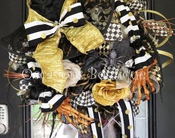 Halloween Wreath, Wicked Witch Wreath, Fall Wreath, Door Hanger, Halloween Decoration, Front door Wreath, Wreath for door, Large wreath