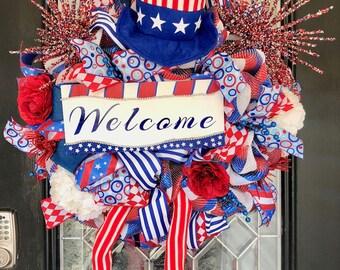 July 4th Wreath, Summer Wreath, Uncle Sam Wreath, Patriotic Wreaths, Door Hanger, Whimsical Wreaths, Front door wreaths