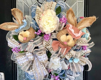Easter Wreath, Easter Decoration, Spring Wreath, Bunny Wreath, Wreath for door, Door Hanger, Front door wreath, Ready to ship