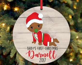 Baby's First Christmas Ornament, Personalized Christmas Ornament, Custom Ornament, African American Christmas Ornament, 2017 Ornament (0044)