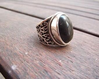 Greek Black Obsidian Ring Tree of Life Artisan Tear of Apache Sterling Silver Ring Vulcanic Glass  Semi Precious Gemstone Jewel Celtic Ring