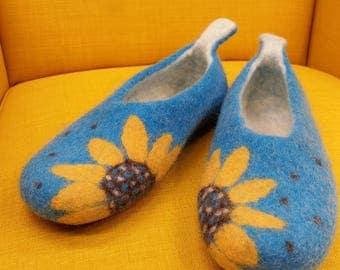 Handmade Felted Wool Women Slippers. ''Sunflower''. Made by Feltingstudio in Edinburgh, SCOTLAND