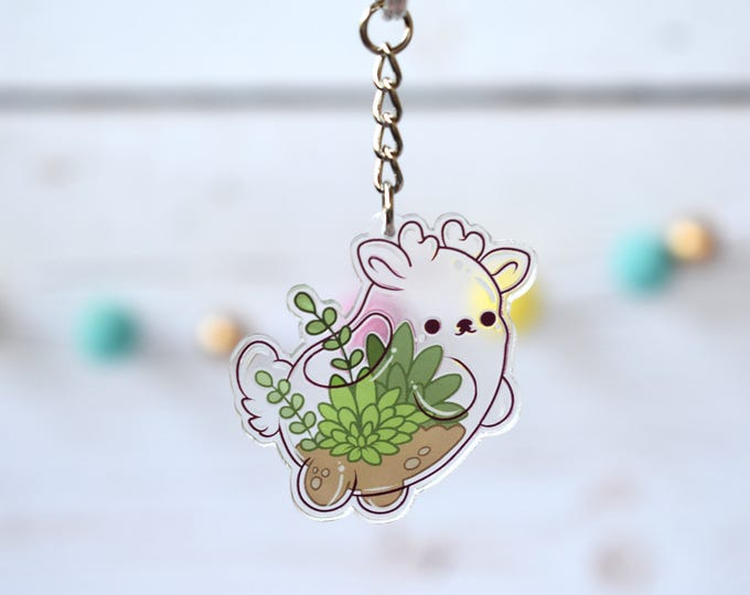 Featured listing image: Kawaii Terrarium Deer Nugget Acrylic Charm Keychain
