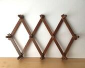 Vintage- Expandable Wooden Wall Hooks- 10 Pegs- Diamond Shape