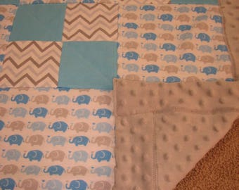 Elephant quilt etsy elephant quilt personalized baby blanket monogram baby gifts gray blue elephant nursery negle Image collections