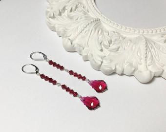 Ruby Red Swarovski Drop Earrings