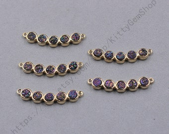 30mm Rainbow Agate Druzy Connectors With Electroplated Gold Edge Charms Pendants Wholesale Supplies YHA-348
