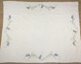 embroidered iris design French linen table cloth with fresh satin stitch motifs