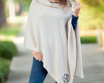 Creme Monogrammed Chelsea Poncho, Womens Monogram Poncho, Personalized Poncho, Embroidered Poncho, Bridesmaid Gift
