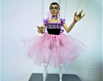 Marionette  carved/marionette on string original wood hand-made-Ballet Dancer- puppet