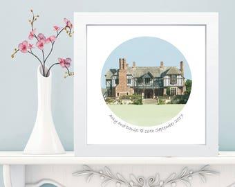 Box Framed Wedding Venue Portrait - Digital Illustration of Wedding Venue - Transformed From Your Photo
