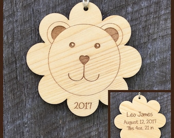 Personalized keepsakes for lifes special occasions by woodbeelove lion personalized baby ornament baby birth info keepsakepersonalized baby giftbaby negle Images