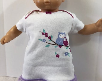 """15 inch Bitty Baby Clothes, Super Cute """"MOMMY & BABY OWL"""" Dress, 15 inch American Doll Bitty Baby or Twin Doll, Love Owls!"""