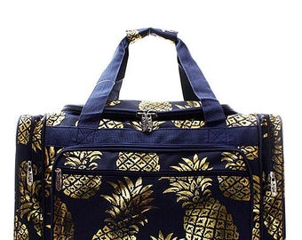 "Personalized Navy Blue & Gold Pineapple Print 20"" Duffel Bag * Back to School Bag * Embroidered Duffle Bags with Monogram or Name Gift"