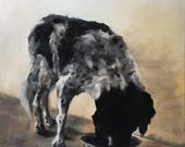 Dinner time, original oil painting of a dog, 60x80cm
