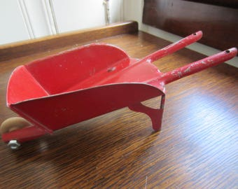 Antique Vintage Red Metal Toy Wheelbarrow/ Collectible/ Farmhouse Decor/ Candy Dish/ Rustic Decor/ Christmas Farmhouse/  Candy Container