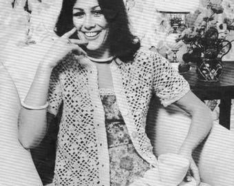1970s Vintage Patons Womens Crochet Cardigen PDF Pattern