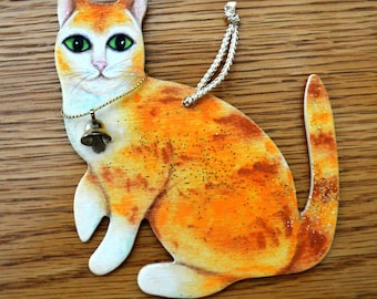 Orange and White Tabby Cat Ornament - Hand Painted - One of a Kind