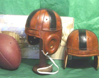 1920-30s Black Cross antique style leather football helmet