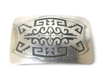 Vintage Sterling Hopi Belt Buckle Jacob Kahe