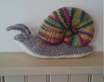 Hand knit  Rainbow Snail made in Maine
