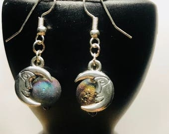 Moon earrings. Nickel free.
