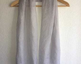 Gray color Scarf, plain scarf, lightweight wrinkled scarf, light gray silk scarf, silver color shawl
